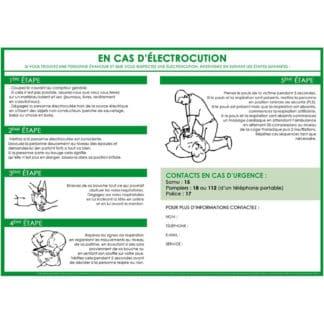 Affichage consignes électrocution