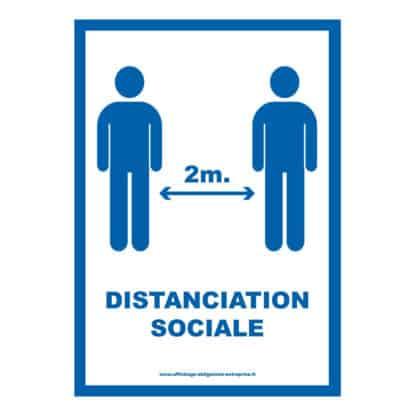 Affiche distanciation sociale 2 mètres fond blanc